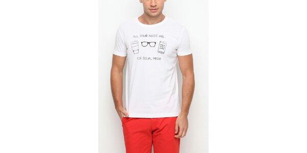 Pánské bílé tričko s krátkým rukávem a černým potiskem Dogo