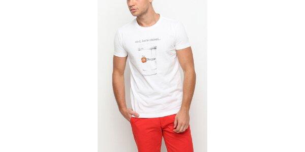 Pánské bílé tričko s krátkým rukávem a potiskem hrnku Dogo