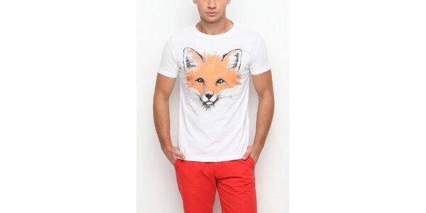 Pánské bílé tričko s krátkým rukávem s potiskem lišky Dogo
