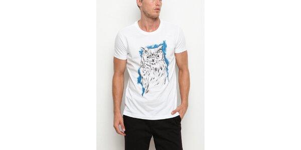 Pánské bílé tričko s krátkým rukávem s potiskem sovy Dogo
