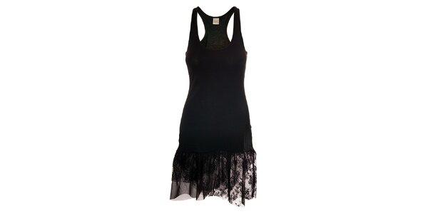 Dámské černé tílkové šaty Pussy Deluxe s krajkovou volánkovou sukní