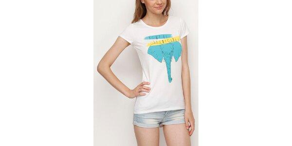 Dámské bílé tričko se slonem Dogo