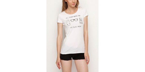 Dámské bílé tričko s černým potiskem Dogo