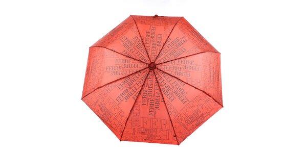 Dámský červeno-černý vystřelovací deštník s logem Ferré Milano