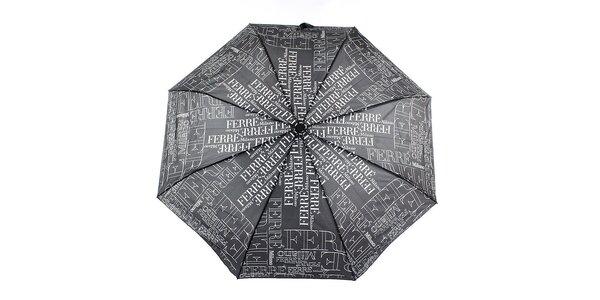Dámský černý vystřelovací deštník s logem Ferré Milano