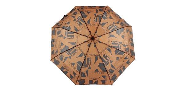 Dámský černo-hnědý vystřelovací deštník s logem Ferré Milano