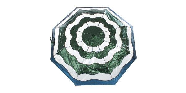 Dámský zeleno-modrý vystřelovací deštník Ferré Milano