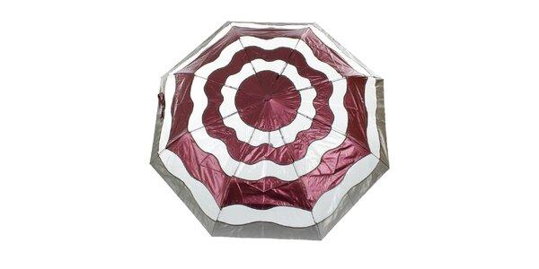 Dámský vínovo-stříbrný vystřelovací deštník Ferré Milano