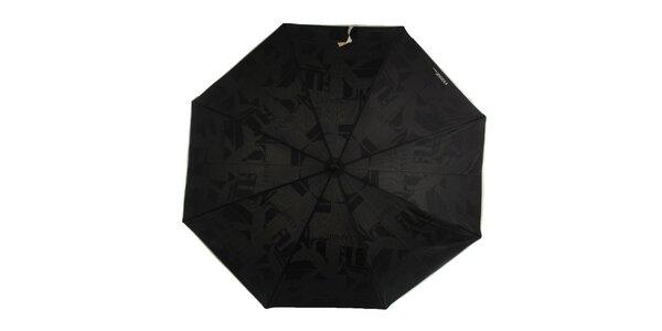 Dámský černý deštník se smetanovou rukojetí a vzorovaným vnitřkem Ferré Milano