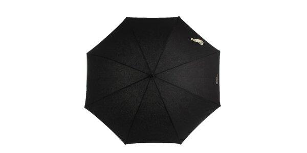 Dámský černý deštník s vzorovaným vnitřkem Ferré Milano