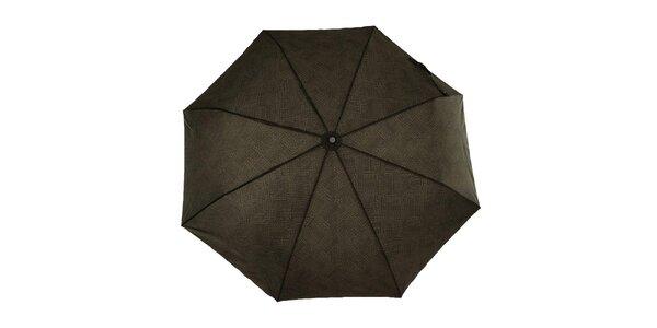 Pánský šedohnědý vystřelovací deštník s černým logem Ferré Milano
