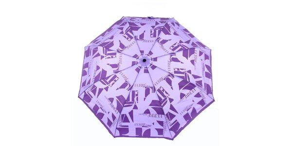 Dámský fialový vystřelovací deštník s logem Ferré Milano