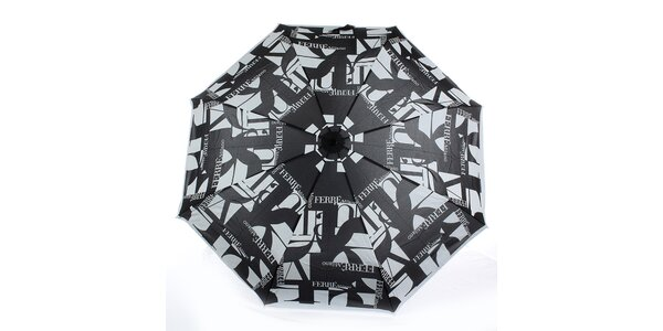 Dámský šedo-černý vystřelovací deštník s logem Ferré Milano