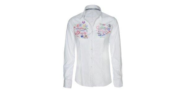 Dámská bílá košile s barevnými výšivkami Giorgio di Mare