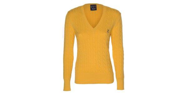 Dámský žlutý svetr s copánkovým vzorem Giorgio di Mare