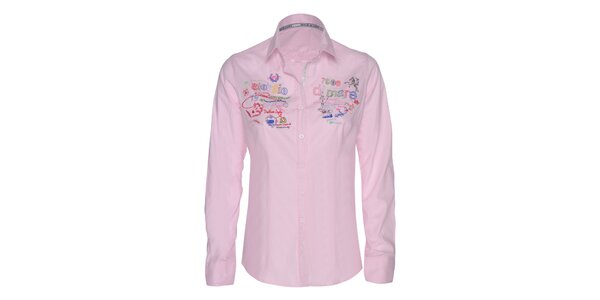 Dámská růžová košile s barevnými výšivkami Giorgio di Mare