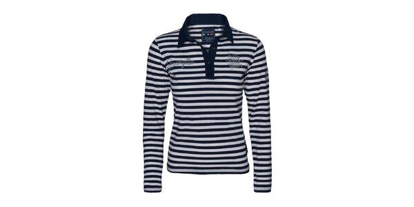Dámské bílo-modré pruhované tričko s límečkem Giorgio Di Mare