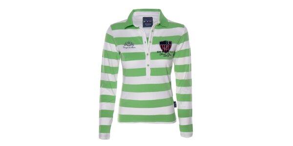 Dámské zeleno-bílé pruhované triko s límečkem Giorgio Di Mare