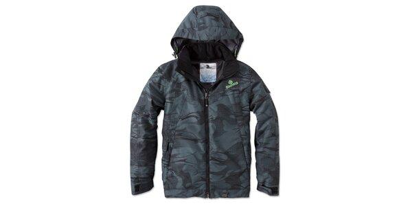 Pánská tmavá zimní bunda s potiskem a kapucí Brunotti
