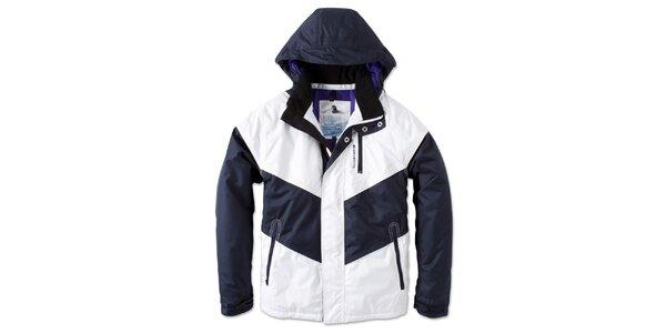Pánská zimní bílo-modrá bunda s kapucí Brunotti