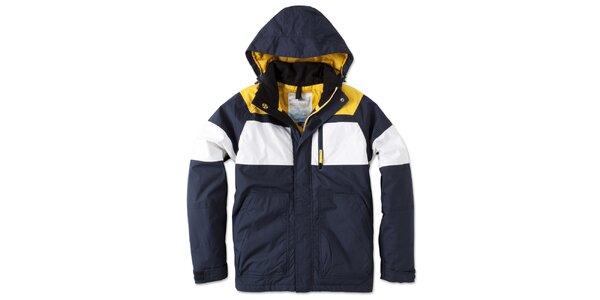 Pánská modro-bílo-žlutá bunda s kapucí Brunotti