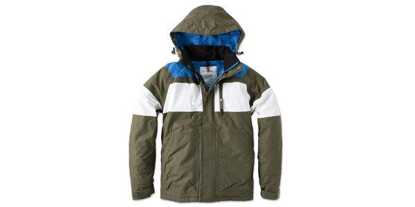 Pánská zeleno-bílo-modrá bunda s kapucí Brunotti