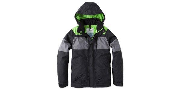Pánská černo-šedo-zelená bunda s kapucí Brunotti