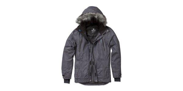 Pánská zimní pruhovaná šedá bunda Brunotti