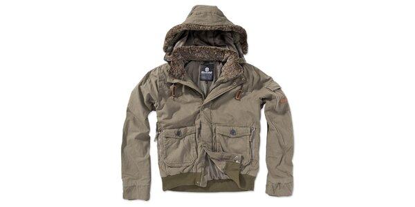 Pánská khaki bunda s kapucí Brunotti