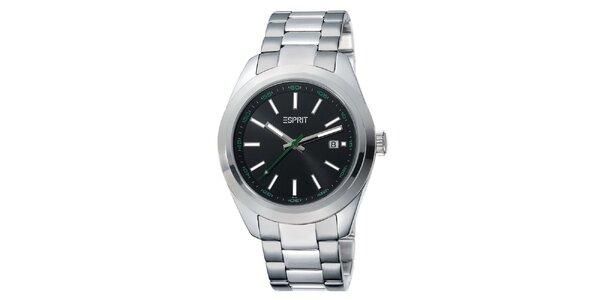 Pánské stříbrné hodinky s černým ciferníkem Esprit