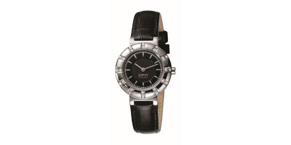 Dámské hodinky se stříbrným kulatým pouzdrem s kamínky Esprit