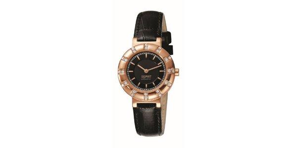 Dámské hodinky s růžovo-zlatým kulatým pouzdrem s kamínky Esprit
