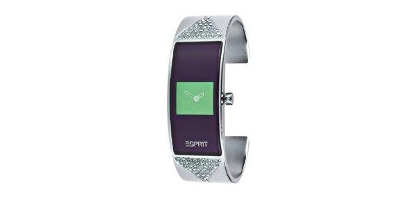 Dámské náramkové hodinky s hranatým ciferníkem v zelené barvě Esprit