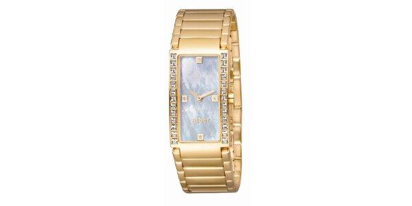 Dámské zlatě tónované hodinky s perleťovým ciferníkem Esprit