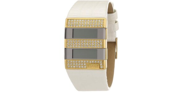 Dámské bílo-zlaté digitální hodinky s krystaly Esprit