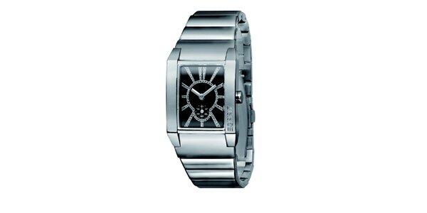 Dámské stříbrné hodinky s černým ciferníkem a kamínky Esprit