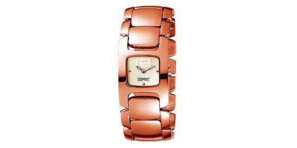 Dámské zlacené hodinky v růžovozlatém odstínu Esprit