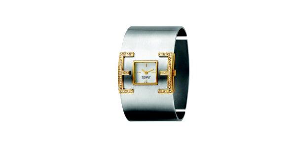 Dámské hodinky se zlatými detaily a kamínky Esprit