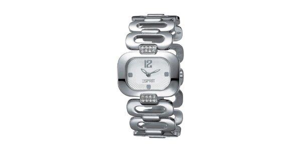 Dámské stříbrně tónované hodinky s perforovaným náramkem Esprit