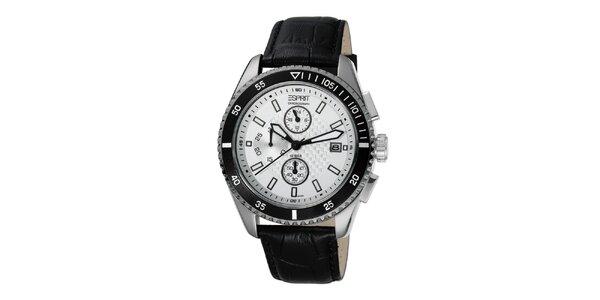 Pánské hodinky s ocelovým pouzdrem a černým páskem Esprit