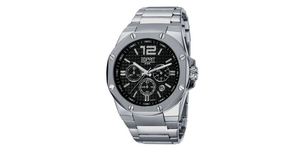 Pánské stříbrné hodinky s chronografem a ozdobnými šroubky Esprit