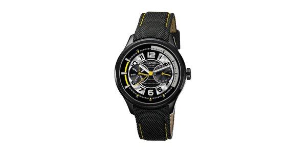 Pánské černé hodinky se žlutými detaily Esprit