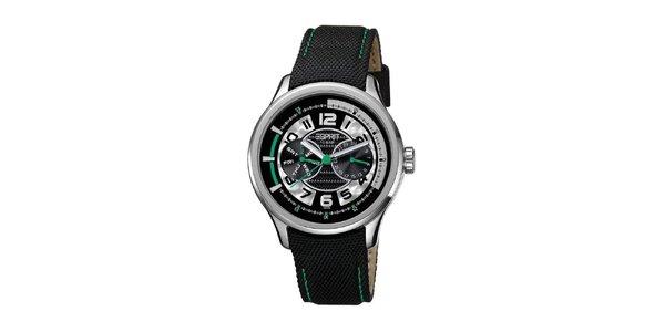 Pánské černé hodinky se zelenými detaily Esprit