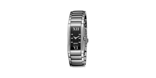 Dámské stříbrné hodinky s černým ciferníkem Esprit