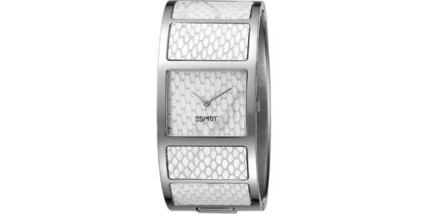 Dámské bílé náramkové hodinky s hadím vzorem Esprit