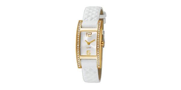 Dámské zlaté hodinky s kamínky a bílým řemínkem Esprit