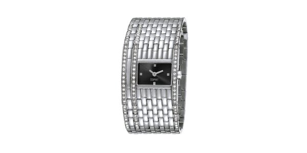Dámské stříbrně tónované hodinky s širokým náramkem Esprit
