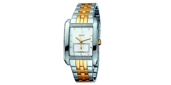 Dámské zlato-stříbrné hodinky se dvěma ciferníky Esprit
