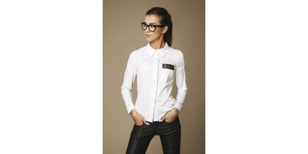 Dámská bílá košile s páskou na hrudi Ambigante
