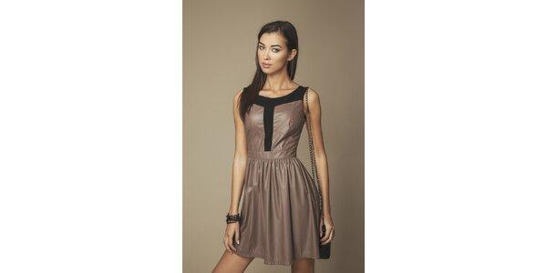 Dámské hnědé koženkové šaty Ambigante